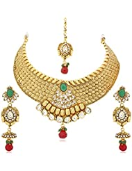 VK Jewels Green Stone Gold Plated Alloy Necklace For Women & Girls- NKS1237G [VKNKS1237G]