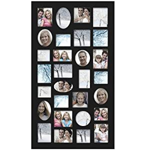Adeco [PF9105] Decorative Black Wood Wall Hanging Collage Picture Photo Frame, 29 Openings, Various Sizes