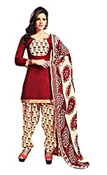 Suchi Fashion Maroon & Cream Printed Crepe Dress Material