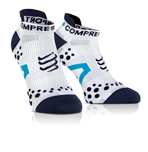 Compressport Racing Socks V2.1 Run Lo Calzino Corsa Basso da Gara e Allenamento, Bianco (White/Blue), T2