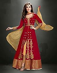 Diya Women's Red Georgette Designer Dress Materials [DS_JCN1002B]