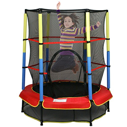 F2C-55-Round-Kids-Mini-Trampoline-w-Safety-Pad-Enclosure-Net-Pad-Indoor-Outdoor-Exercise-55