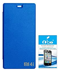 TBZ Flip Cover Case for Xiaomi Mi 4i with Tempered Screen Guard -Blue