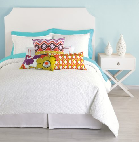 Trina Turk 3-Piece Santorini Matelasse Duvet Cover Set, Queen, White back-947295