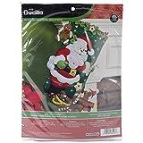 Bucilla 18-Inch Christmas Stocking Felt Applique Kit, Santa and Teddy Bear