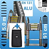 5m Double Telescopic Foldable Extendable Multipurpose Aluminium A Frame Ladder WITH ALUMINIUM RINGS Step Ladder with *Heavy Duty Carry Bag* AK5