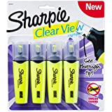 Sanford Sharpie 4 Clear View Chisel Tip Highlighters, Yellow (1897845)