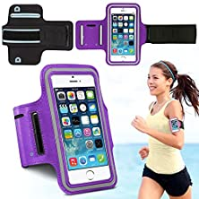 buy Iphone 6/6S Armband, With Key Holder And Headphone Jack Hole (Purple+Gray Reflective Strip)