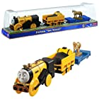 Fisher Price Year 2013 Thomas and Friends As Seen On King of the Railway DVD Series Trackmaster Motorized Railway Battery Powered Tank Engine 3 Pack Train Set - STEPHEN THE ROCKET with 1 Open-Top Carriage Car and 1 Flat-Bed Car with Horse Statue