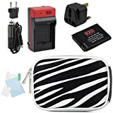 EZOPower BP-70A Battery + Travel Charger Kit with UK Plug + Silver Zebra EVA Case + Screen Protector for Samsung DV150F, WB30F, ST72, ST150F, ST66, ST76, MV800 Digital Camera
