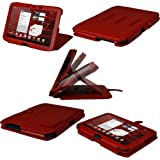 IGadgitz Red 'Guardian' Leather Case Cover for Motorola Xoom 2 Droid Xyboard 10.1