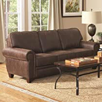 Big Sale Bentley Collection Sofa Couch in Brown Coated Microfiber