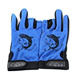 Impoted 1 Pair Non Slip Friction Palm 3 Low Cut Fingers Fishing Gloves - Blue
