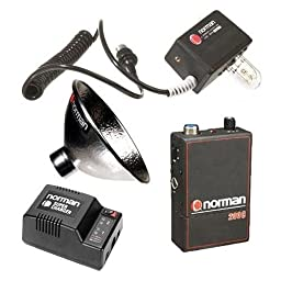 Norman A200C-R 200w/s Portable Battery Kit with LH2K-R UV Flash Head with Pocket Wizard Radio Slave, 5\