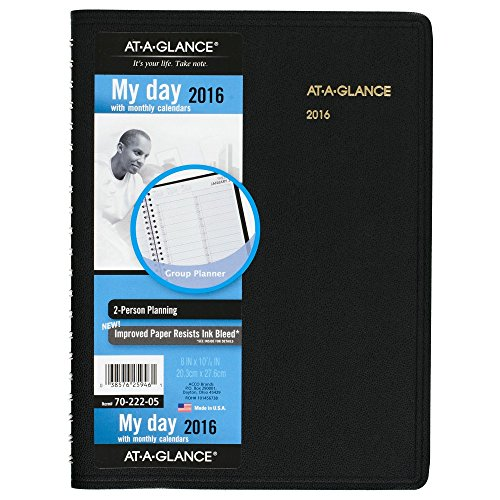 AT-A-GLANCE Daily Appointment Book 2016, Two-Person, 8 x 10-7/8 Inches, Black (70-222-05)