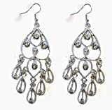 Fashion Jewelry Women's PlatinumColored Dangle Earrings 3 Inches (1 pair)