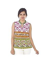 Parinita Women Fuschia Cotton Printed Short Top - B00PW0M99S