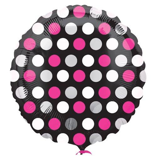 Pink & White Dots Mylar Balloon