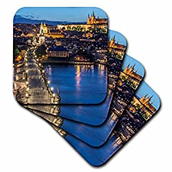 3dRose Czech Republic, Bohemia, Prague, Charles bridge Twilight. - Ceramic Tile Coasters, Set of 4 (cst_207789_3)