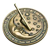 Lawn & Patio - Rome 2442 Bronze Moon and Stars Sundial, Cold Cast Antique Bronze, 8.25-Inch Diameter