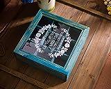 Greencherry Retro Zakka Style Wood 9 Cube Desk Box Storage Organizer with Glass Cover (Blue)
