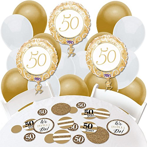 We Still Do - 50th Wedding Anniversary - Confetti and Balloon Anniversary Party Decorations - Combo Kit