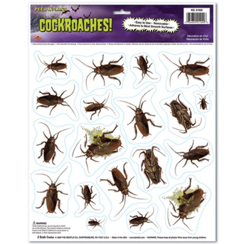 Beistle Cockroaches Peel 'N Place for Halloween Party, 12-Inch by 15-Inch - 1