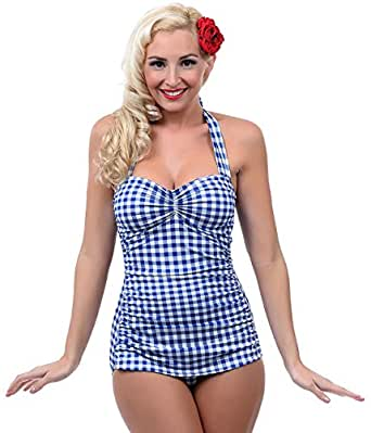 Esther Williams 1950s Style Royal Blue & White Gingham One