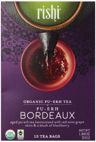 Rishi Tea Organic Pu-Erh Tea, Pu-Erh Bordeaux, 15 Count (Pack Of 6)