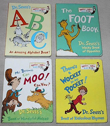 Dr. Seuss Bright and Early Board Books set: Dr. Seuss's ABC; The Foot Book; Mr. Brown Can Moo! Can You?; There's a Wocket in My Pocket! (Dr Seuss Mr Brown Can Moo compare prices)