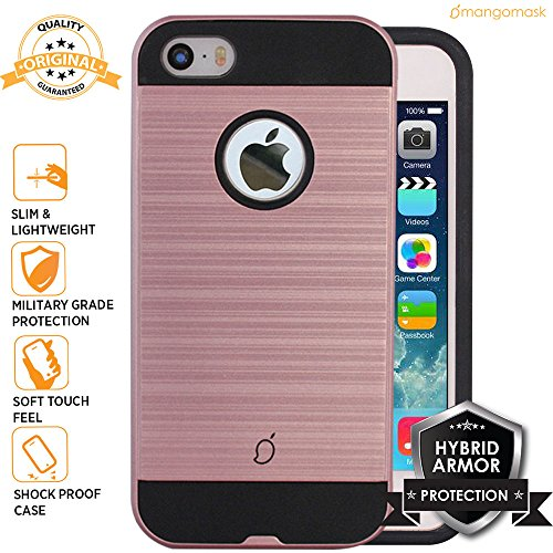 Mangomask Apple iPhone 5 Back Case Cover , Apple iPhone 5s Back Case Cover , Apple iPhone SE Back Case Cover Brushed Hybrid Armor Series - Rose Gold  available at amazon for Rs.449