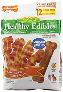 Nylabone Healthy Edibles Regular Bacon Flavored Dog Treat Bones with Vitamins, 12 Count