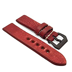 StrapsCo 20mm Red Extra Thick Antique Vintage Leather Watch Band w/ Black Pre-V Buckle