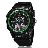 [ACI-NBC] 選べる 6 色 OHSEN 腕時計 デジアナ 表示 デジタル アナログ 多機能 ウォッチ LED ライト 防水 ストップウォッチ アラーム スポーツ アウトドア カジュアル メンズ レディース 腕 時計 【 BOX 時計 拭き付 】 (グリーン)