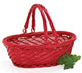 Red Willow Christmas Basket with Folding Handles Great for Crafts and Holiday Decor
