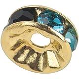 Leegoal 100 Pcs Swarovski Crystal Rondelle Spacer Bead Gold Plated 8mm Multicolor