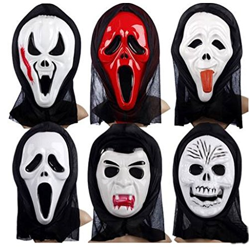 Bravlady® Halloween Mask Ghost Horror Mask Head Devil Screamed Whimsy Scary Faces Skeleton Mask