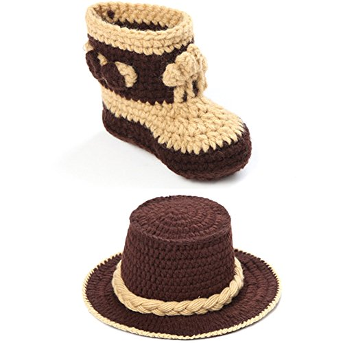 Toddler Infant Cowboy Style Handmade Costume Crochet Cute Photograph Prop Outfit