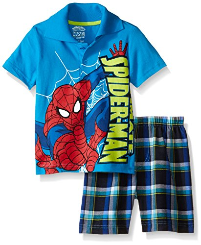 Marvel Big Boys Spiderman Plaid Short Set with Polo Top, Blue, 4