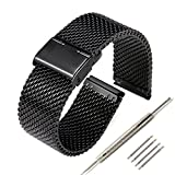 Tezer 304 Stainless Steel 22mm Mesh Watch Band for Pebble Time/ Pebble Time Steel/ Pebble Classic -Black