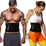 Reformer Fully Adjustable Waist Trimmer Ab Belt with Back Lumbar Support. Includes Free Velcro Smartphone Neoprene Sleeve (iPhone 6 compatible). Premium Weight Loss Sauna Belt for Men and Women,Black