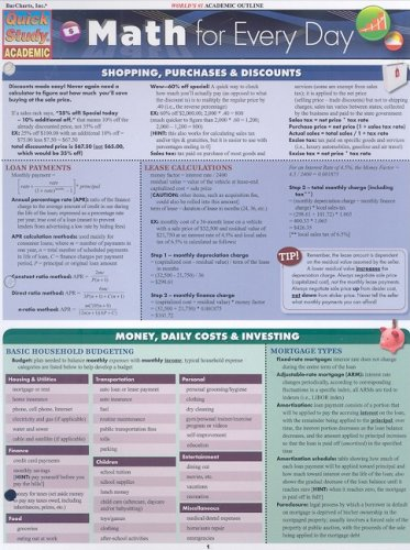 Math for Every Day Laminated Reference Guide (Quick Study: Academic)