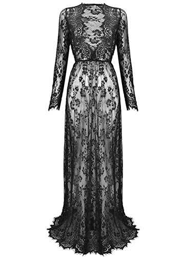 Yomoko Sexy Deep V-Neck Long Sleeve Lace Beach Dress See-through Maxi Dress (Large, Black)