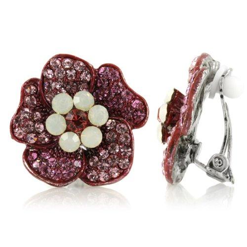 Padma's Flower Clip On Earrings - Pink - Final Sale