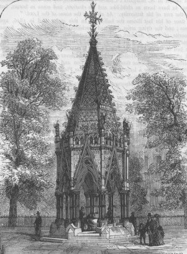 Millbank: The Buxton Memorial Fountain. London, Antique Print C1880