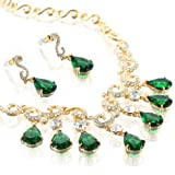Stunning Wedding Bridal Swarovski & CZ Crystal Pear Drops Necklace & Earrings Set in the Decorative Art Deco Style. Also a Contemporary Indian Jewellery Design. 4 Gorgeous Colour Combinations, Topaz, Fuchsia, Emerald Green & Clear Silver. 14k Gold & Silv