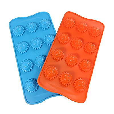 Candy Making Molds, 2PCS YYP [12 Cavity Sun Shape Mold] Silicone Candy Molds for Home Baking - Reusable Silicone DIY Baking Molds for Candy, Chocolate or More, Set of 2