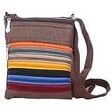 Mela Trendy, Crossbody Passport Travel Zip Sling Bag - Brown