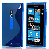 New Official Speedythings ® Dark Blue S-Line Wave Case Cover For Nokia Lumia 800 - Free Screen Protector