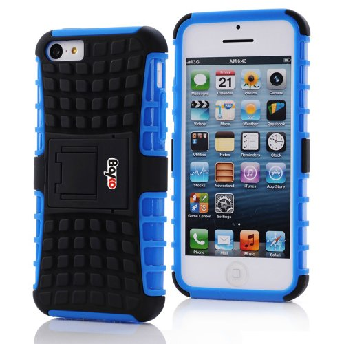 Bayke Brand / Apple Iphone 5C 2-Piec Dual Layer Tire Tread Combo Heavy Duty Rugged Matte Skidproof Hard Protective Case Cover With Kickstand (Blue Tpu Inner)